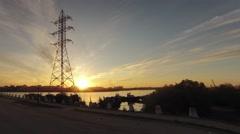Power lines, river Yakutia Republic of Sakha Yakutia Russia Stock Footage