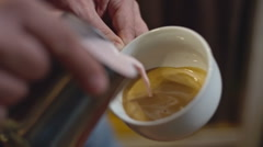 Pouring Coffee Art Heart Stock Footage