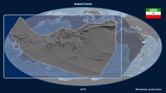 Somaliland - 3D tube zoom (Mollweide projection). Bumps Stock Footage