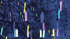 Creative design of city street illumination, festive fluorescent decoration Stock Footage