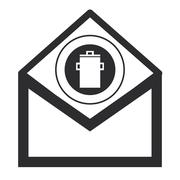 Envelope with garbage can icon Stock Illustration