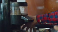 Barista Grinding Coffee Stock Footage