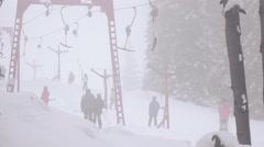 Timelapse ski drag lifts Stock Footage