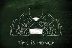 Hourglass surrounded by banknotes, time is money Stock Illustration