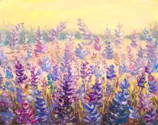 Field of delicate flowers Lavender. Blue-purple flowers painting artwork. - stock illustration