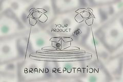 Your product on stage under spotlights with text Brand reputation Piirros