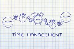 time management: clocks, stopwatches and alarms with gearwheels - stock illustration