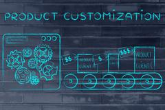 Production line with customized unique items, Product Customization Stock Illustration
