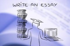 Write an Essay, graduate holding books and laptop with thesis draft Stock Illustration