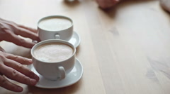 Barista Serving Coffee to Clients Stock Footage