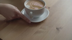 Serving Cappuccino to Client Stock Footage