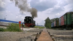 Locomotive is preparing for trip - stock footage