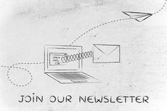 join our newsletter: email envelope coming out of laptop screen with a screen - stock illustration