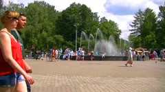 People walk in a park near the fountain - Russia - Yekaterinburg - Timelaps Stock Footage