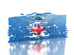 3d European Union Wall with Great Britain ball. Brexit concept. Stock Illustration
