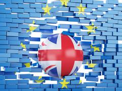 3d European Union Wall with Great Britain ball. Brexit concept. - stock illustration