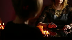 fortuneteller. divination by the runes. - stock footage