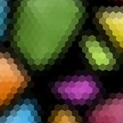 Colors low poly hexagon style vector mosaic background - stock illustration