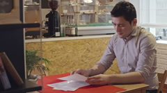 Man Making Order at Cafe Stock Footage