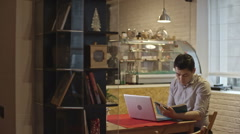 Businessman Working in Cafe Stock Footage