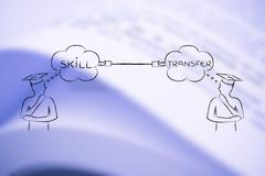 Skill transfer: men with thoughts connected with a plug - stock illustration