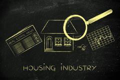 house, newspaper & stats with magnifying glass; housing industry - stock illustration