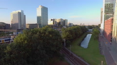 Ringway and office towers in Amsterdam, aerial. Stock Footage