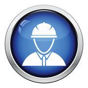 Icon of construction worker head in helmet Stock Illustration