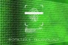 Biometrics technology: fingerprint scan in progress Stock Illustration