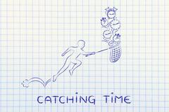 man with net running to collect clocks and alarms, catching time - stock illustration