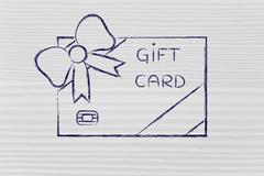 retailer's gift card with bow - stock illustration