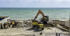 Road works on the beach Stock Footage