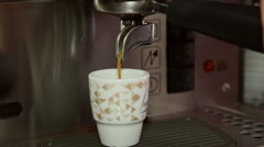 Making espresso coffee in espresso machine  at restaurant, slider shot Stock Footage