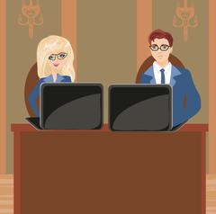 Formally dressed people in office, business meeting - stock illustration