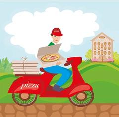 Pizza delivery man on a motorcycle Stock Illustration