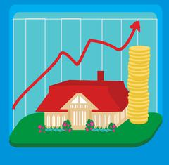 Unstable housing market Stock Illustration