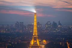 Eiffel Tower and Paris cityscape from above, France Stock Photos