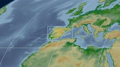 Spain - 3D tube zoom (Mollweide projection). Bumps shaded Stock Footage