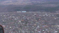 Aerial view from flying helicopter. Camera inside. Landscape of countryside - stock footage