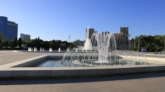 Fountain in national park in front of house of government in Baku Stock Footage