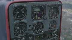 View at control panel of helicopter in moment of flight. Day. Transportation - stock footage