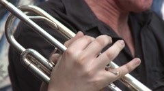 Orchestra musician playing trumpet wind instrument Stock Footage