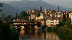 Bassano del Grappa - The Ponte Vecchio at sunset Stock Footage
