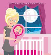 Grandmother hugs her granddaughter Stock Illustration