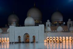 View of famous Sheikh Zayed White Mosque in Abu Dhabi Stock Photos