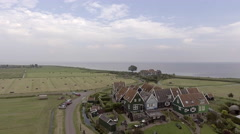 Aerial of traditional Dutch fishermen's houses - stock footage