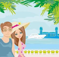 couple on vacation - stock illustration