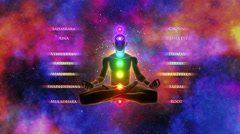Silhouette of a person in lotus pose & Activation of 7 Chakras with their names Stock Footage