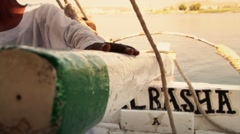 Egypt rudder hand boat nile water Albasha Stock Footage