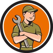 Mechanic Arms Crossed Spanner Circle Cartoon Stock Illustration